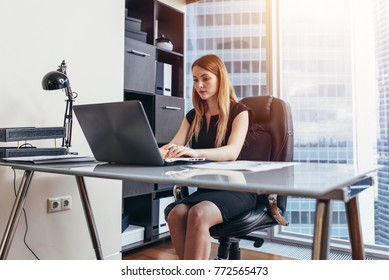 Woman working on laptop sitting at her desk in office