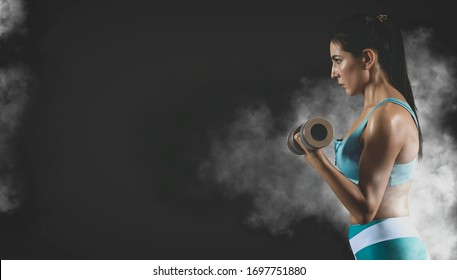 Woman working out with dumbbell. Sports banner. Horizontal copy space background. Matte effect