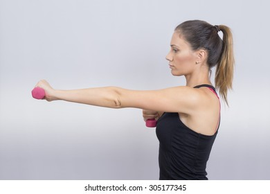 Woman working out in studio