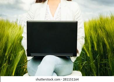 Woman working outdoor
