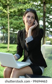 woman working in the park