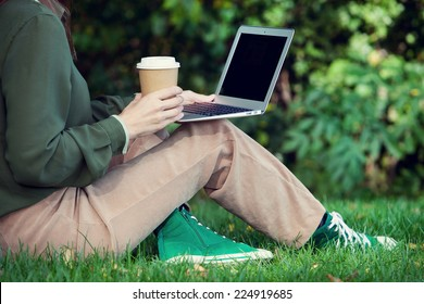 woman working in the park. Self employment