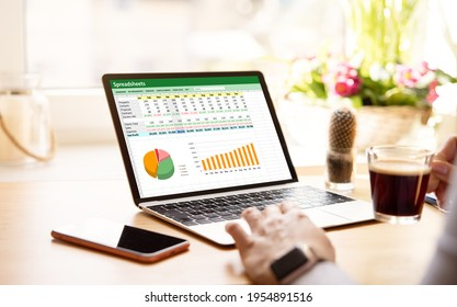 Woman working with spreadsheets on laptop computer
