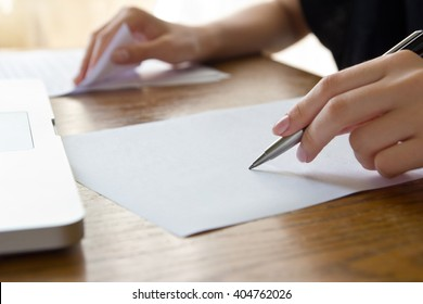 woman working with text