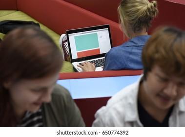 Woman working using digital laptop