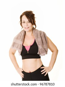 woman in workout clothes and towel isolated on white