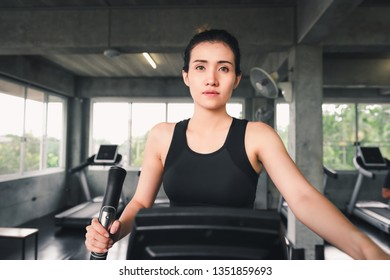 Woman Workout Elliptical Trainer Exercising in Fitness Club, Portrait of Pretty Attractive Asian Woman Doing Elliptical and Training in Gym., Beautiful Girl in Sportswear, Sport and Healthy Concept.