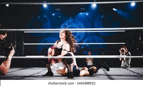 Woman wrestling at Sideways festival. Helsinki, Finland - 6-8 June 2019,  Helsinki Ice Hal.