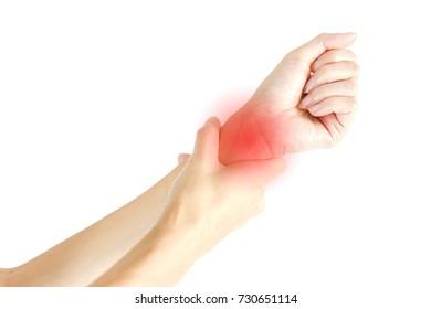 Woman Wrist Pain on white background