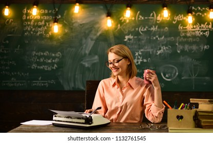 Woman write love story novel in redaction. Just inspired. Literature and grammar education. New technology in modern school. Private detective research. Information. Back to school and home schooling