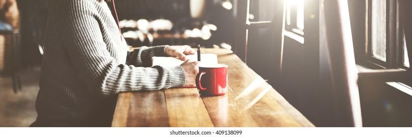 Woman Writing Book Coffee Shop Concept