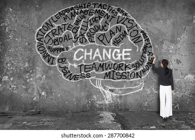 woman writing change with brain on wall