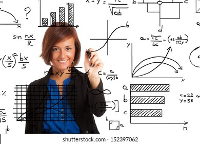 Woman writing formulas on the screen