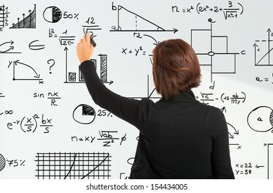 Woman writing formulas on a white board