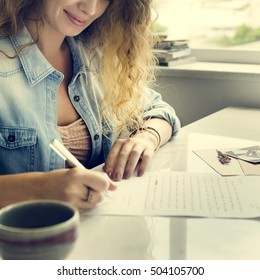 Woman Writing Letter Statement Concept