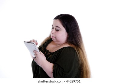 Woman writing notes.