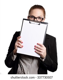 woman with writing notes folder