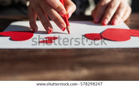 Woman Writing Valentines Day Love Letter Stock Photo Edit Now