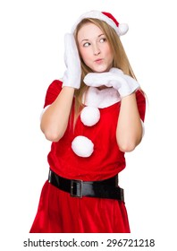 Woman with x mas costume with funny face expression