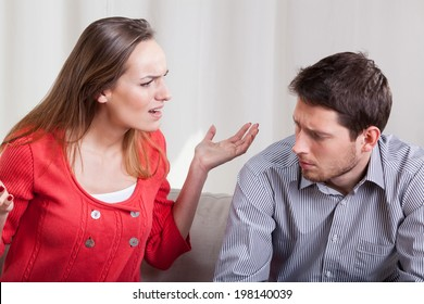 A woman yelling at her man, horizontal