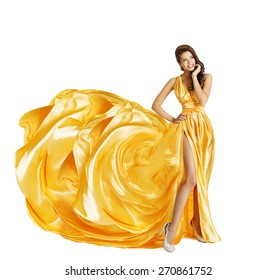 Woman in Yellow Art Silk Dress, Gown Cloth Fabric as Flower, Beauty Girl on White