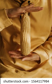 A woman in a yellow hoodie holds corn in her hands. Maize closeup. Natural fresh organic vegetable. Healthy eating, raw food diet. Summer agriculture, grain. Beautiful yellow texture. Poster, banner