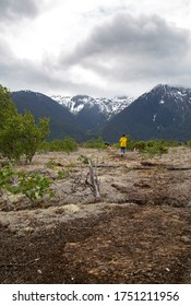 Woman in a yellow rain jacket walking on the lava bed of the Nisga'a Valley.