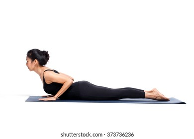 woman in a yoga pose in the studio