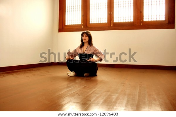 a woman in yoga position
