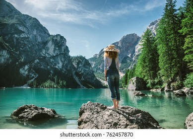 Woman  - Young girl exploring the nature