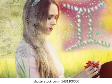 Woman and zodiac signs, gemini symbol