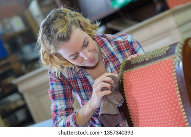 womanan working in upholstery workshop
