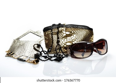 Womanish handbag for cosmetics, accessories, sunglasses