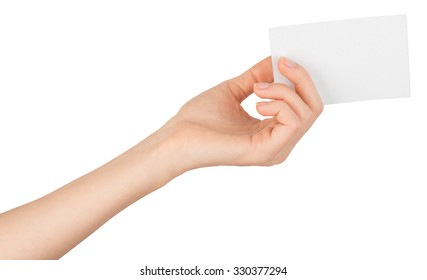 Womans arm offering small empty card on isolated white background