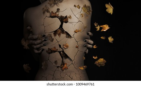 woman's back with leaves on dry skin