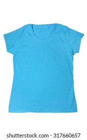 Woman's blue t-shirt isolated on white background