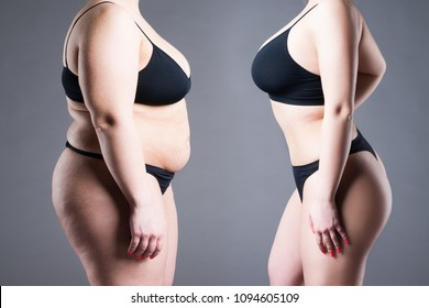 Woman's body before and after weight loss on gray background
