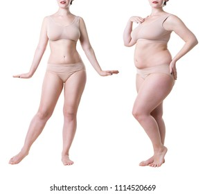 Woman's body before and after weight loss isolated on white background, full length plastic surgery concept