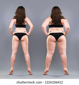 Woman's body before and after weight loss, gray background, full height plastic surgery concept