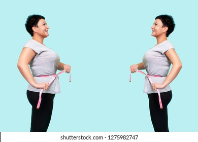 Woman's body before and after weight loss. Portraits Of Woman Before And After Sports, Standing Against Blue Background.comparison of women in sportswear with a measuring tape on the waist
