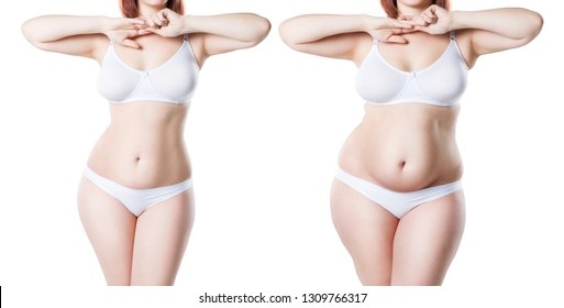 Woman's body before and after weight loss isolated on white background, plastic surgery concept