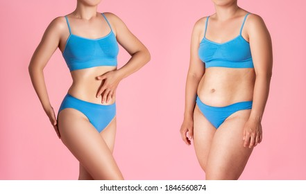 Woman's body before and after weight loss on pink background, plastic surgery concept