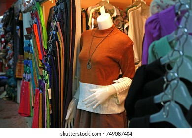 A woman's brown dress on a puppy show in a clothing store