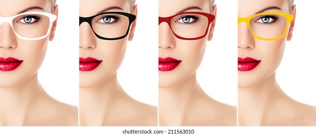 Woman's collection of sunglasses color and rim design. Close-up portrait of young pretty female face wearing optical glasses with colorful frames.