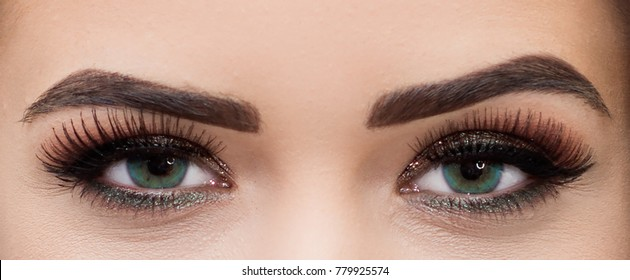 Woman's eyes with colored contact lenses.