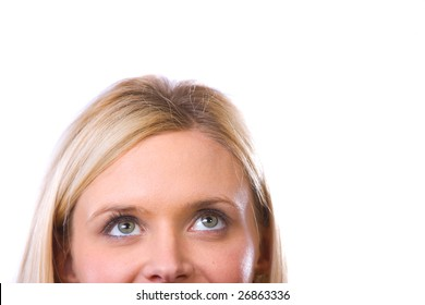 Womans eyes looking up isolated on white