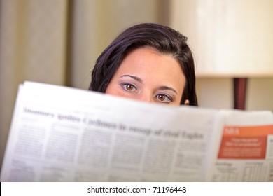 Woman's eyes reading