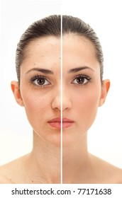 woman's face, beauty concept before and after contrast,  power of retouch