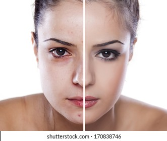 woman's face before and after makeup and digital editing