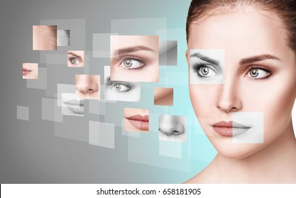 Woman's face collected from different parts